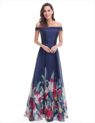 Elegant Navy Blue Floral Off The Shoulder A-Line Floor Length Dress