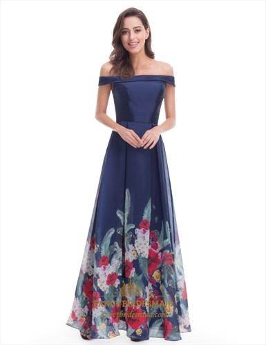 Elegant Navy Blue Floral Off The Shoulder A-Line Floor Length Dress