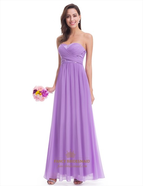 Lavender Strapless A-Line Chiffon Bridesmaid Dress With Ruched Bodice