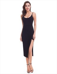 Simple Black Sleeveless Open Back Short Sheath Dress With Side Split