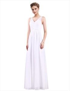 Sleeveless V-Neck A-Line Lace Top Chiffon Floor Length Evening Dress