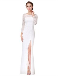 Long Sleeve Open Back Floor Length Lace Formal Dress With Side Split