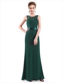 Elegant Sleeveless Open Back Lace Sheath Mermaid Prom Dress With Belt
