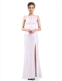Floor Length Sleeveless Backless Silt Split Lace Prom Dress With Belt