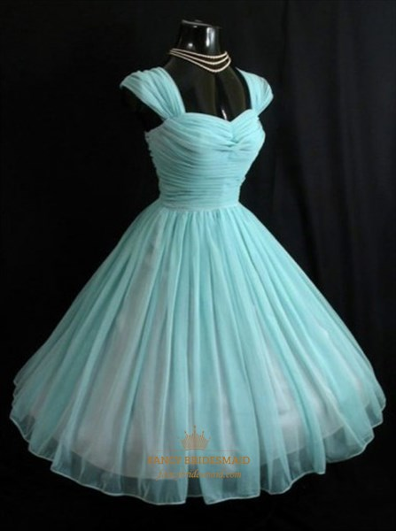 Simple Baby Blue Sweetheart Neckline A-Line Chiffon Homecoming Dress