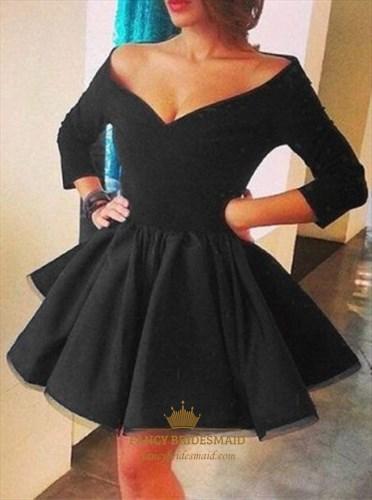3/4 Length Sleeve Off Shoulder V-Neck Short A-Line Homecoming Dress