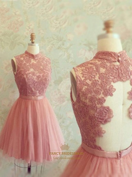 Lovely High-Neck Sleeveless Lace Bodice Tulle Bottom Homecoming Dress