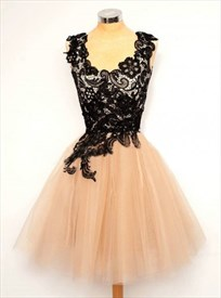 Knee Length Sleeveless A-Line Homecoming Dress With Black Lace Top