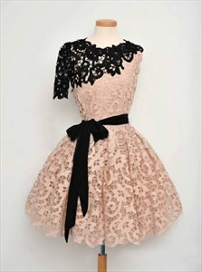 Cute Peach One Shoulder A-Line Short Lace Homecoming Dress With Belt