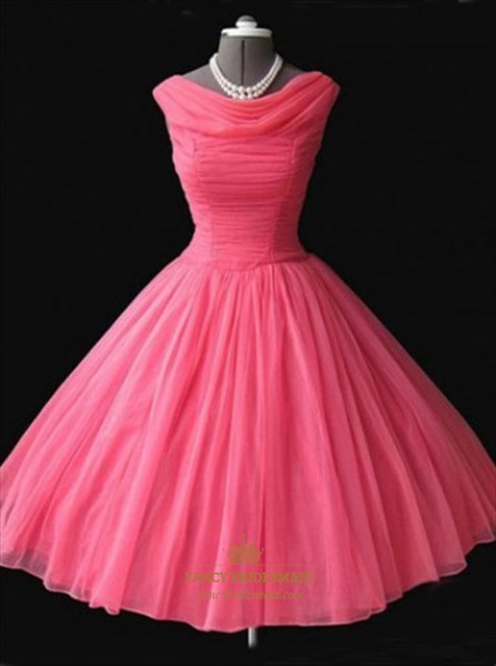 Hot Pink Sleeveless Knee Length A-Line Ruched Chiffon Homecoming Dress