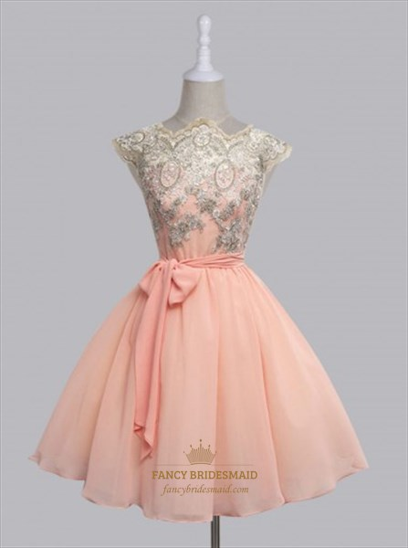 Cap Sleeve Lace Top Chiffon Bottom A-Line Homecoming Dress With Belt
