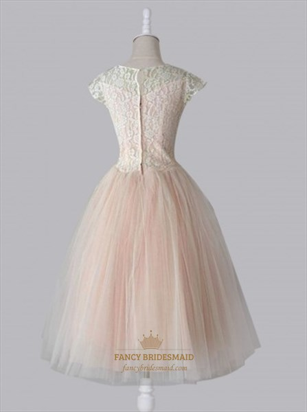 Elegant Cap Sleeve Lace Bodice Tulle Bottom A-Line Homecoming Dress