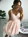 Lovely Pale Pink Short Sleeveless V-Neck A-Line Lace Homecoming Dress