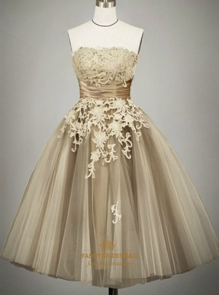 A-Line Knee Length Strapless Lace Applique Tulle Homecoming Dress