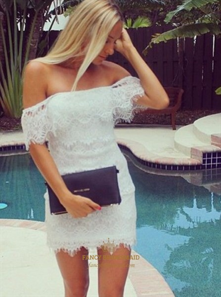 Elegant White Off The Shoulder Short Sheath Lace Homecoming Dress