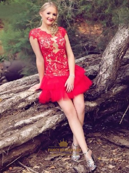 Red Cap Sleeve Dropped Waist Tulle Homecoming Dress With Lace Bodice