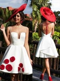 White Sleeveless Sheer Neckline Short A-Line Dress With Fabric Flower