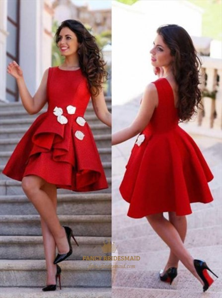 Lovely Red Sleeveless A-Line Homecoming Dress With Patchwork Ruffles