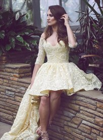 Off Shoulder V-Neck Half Sleeve High Low Homecoming Dress With Train