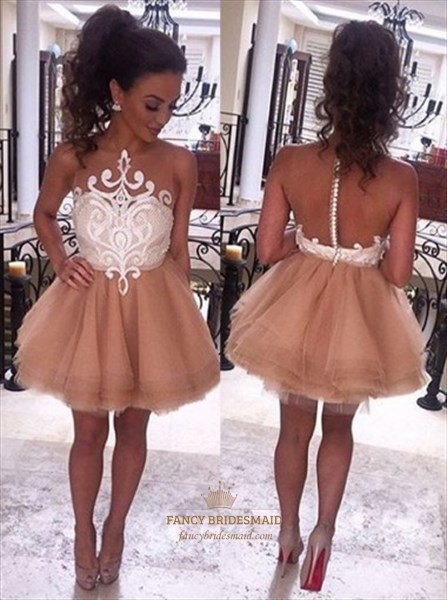 Sleeveless A-Line Short Ball Gown Homecoming Dress With Sheer Lace Top