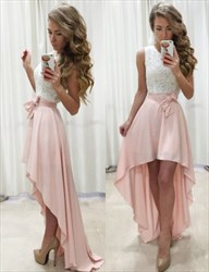 Pink Sleeveless Lace Top High-Low Chiffon Homecoming Dress With Belt