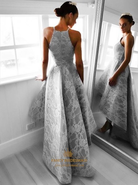Grey Spaghetti Strap A-Line High-Low Lace Overlay Homecoming Dress
