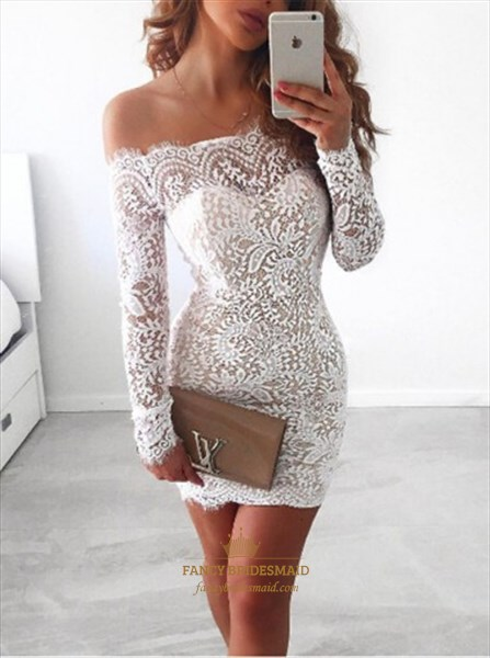 White Off The Shoulder Long Sleeve Short Sheath Lace Homecoming Dress