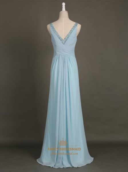 Simple Light Blue Sleeveless Beaded V-Neck Ruched Chiffon Maxi Dress