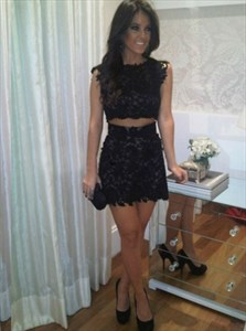 Elegant Black Two-Piece Cap Sleeve Short Sheath Lace Cocktail Dress