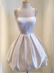 Cute Sweetheart Neck A-Line Short Homecoming Dress With Beaded Strap