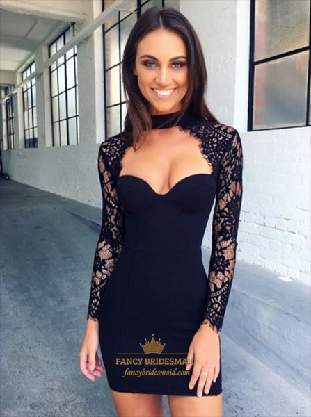 Black Sweetheart Short Sheath Cocktail Dress With Lace Long Sleeve