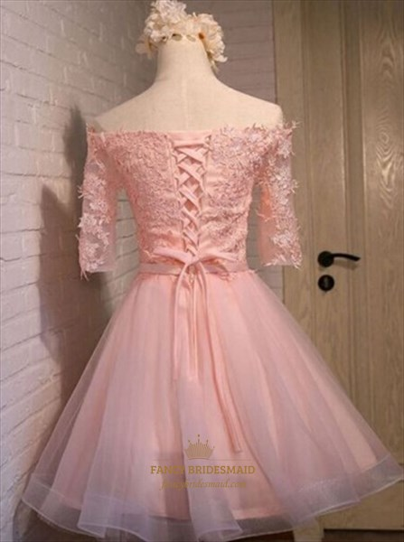 Lovely Pink Off The Shoulder Half-Sleeve Lace Bodice Homecoming Dress