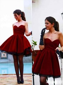 Burgundy Simple Strapless Sweetheart Neckline A-Line Homecoming Dress