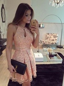 Pink Sleeveless Lace A-Line Short Homecoming Dress With Keyhole Front