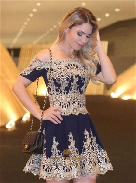 Off The Shoulder Short Sleeve Lace Embellished A-Line Cocktail Dress