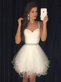 White Sleeveless Sweetheart Tulle Homecoming Dress With Beaded Strap