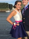 Navy Blue And White Sleeveless V-Neck Short A-Line Homecoming Dress