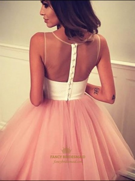 Sheer Neckline Sleeveless Knee Length A-Line Tulle Homecoming Dress