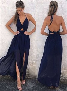 Navy Blue Spaghetti Strap Halter Chiffon Long Prom Gown With Open Back