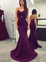Purple Spaghetti Strap Mermaid Floor Length Prom Dress With Cross Back