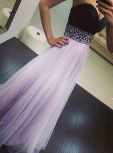 Strapless Sweetheart Floor Length A-Line Prom Dress With Beaded Waist