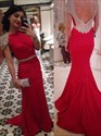 Elegant Red Cap Sleeve Mermaid Floor Length Prom Dress With Open Back