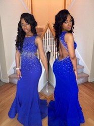 Royal Blue Sleeveless Mermaid Beaded Evening Dress With Keyhole Back