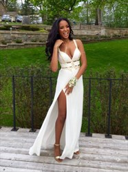 White Sleeveless Deep V-Neck Beaded Embellished Prom Dress With Split