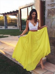 Yellow And White Two-Piece Spaghetti Strap Lace Top A-Line Prom Dress