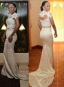 Illusion Sheath Mermaid Cap Sleeve Lace Bodice Floor Length Prom Dress