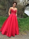 Red Strapless Sweetheart Floor Length A-Line Ball Gown With Beading