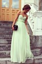 Light Green A-Line Strapless Sweetheart Criss-Cross Front Maxi Dress
