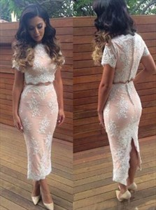 Two-Piece Short Sleeve Ankle Length Lace Sheath Prom Dress With Split