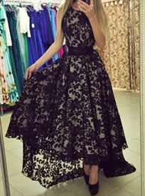 Elegant Black Sleeveless A-Line Ankle Length High-Low Lace Prom Dress